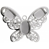 Filigree Pendant Setting32x42mm Butterfly Imitation Rhodium